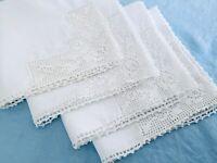 """4 Vintage Handmade White Dinner Napkins Crocheted Corner w/Roses Cotton 15""""x15"""""""