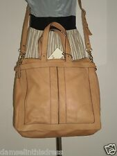 Junior Drake ANIKA Satchel Shopper Tote Bag Purse Cross Body Camel Leather NWT