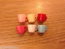 Miniature 6x resin cups, mugs 1/12th scale dolls house kitchen cafe UK SELLER