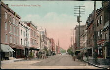 YORK PA East Market Street Wm Smith Druggist Singer Sewing Antique Postcard Vtg