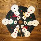 "Vintage Christmas Tree Snowman Skirt Handmade Felt Applique Buttons 32"""