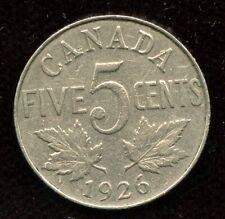 1926 Canada Five Cents - Key Date Far 6 Nickel
