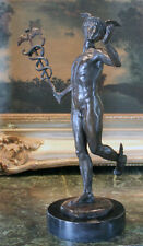 Nude Male Mercury Mars Medical Caduceus Roman Greek God Bronze MD Marble Statue