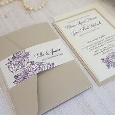 SAMPLE ◦ ROSE Pocketfold Wedding Invitation ◦ Vintage ◦ Antique ◦ Flower Theme