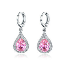 Fashion Dangle Drop Earrings 18k White Gold Filled Pink Crystal Sapphire Wedding
