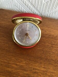 Europa Vintage Wind Up Travel  Alarm Clock Round Red Fold up Case 2 Jewels