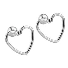 "Pair 16G Steel Love Heart 1/4"" Barbell Ear Tragus Cartilage Helix Stud Earrings"