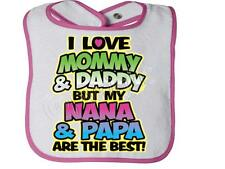 I LOVE MOMMY DADDY BUT NANA PAPA BEST NEON  Rabbit Skins SNAP BIB So Cute!