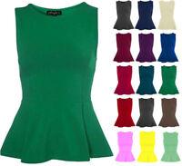 Women Sleeveless Peplum Frill Stretch Mini Bodycon Dress Top Also Plus Size 8-22