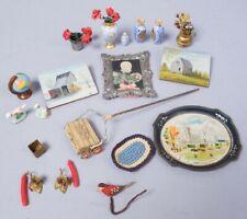 Antique Miniature Dollhouse Decorations incl Vases, Paintings, Carpet Sweeper