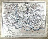 1905 Antik Eisenbahn Map Of Austro Hungarian Schienen Belgrad Rumänien Plan