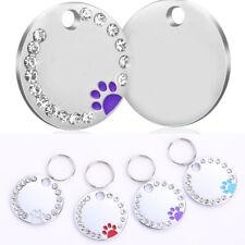 Pet Dog Puppy ID Name Tags Rhinestone Paw Print Pendant Engraved Label Collar