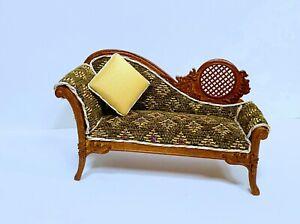 Dollhouse Miniature Wooden Walnut  Chaise With Throw Cushion