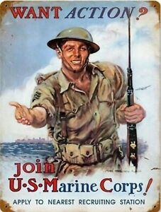 Vintage New Tin Poster Collection Tin Signs-us Marine Corps Recruitment Metal