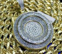3.00 Ct Round Cut Diamond Medallion Pendant Pave Charm 14K Yellow Gold Finish
