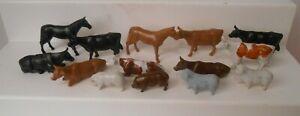 Plasticville O S Farm Animals Cows Pigs Horses Goat (14 Pieces)