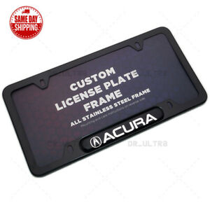 For Acura Sport Front / Rear License Plate Frame Cover Stainless Black Aspec