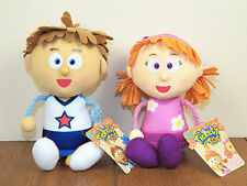 """Tickety Toc 2-LOT Tommy AND Tallulah 7"""" Plush Stuffed Dolls Tock **NEW W/ TAGS**"""