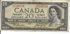 CANADA, $20, QEII, DEVIL FACE, CUT OUT of REGISTER ERROR, 1954