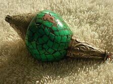 Large Tibetan Style Conch PENDANT w/ Inlaid Turquoise Carved Silver Brass Mantra