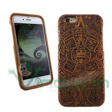 Custodia cover in Legno DISEGNI AZTECHI p iPhone 6 4.7 6S protezione rigida wood