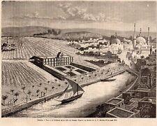 IMAGE 1889 ENGRAVING EGYPTE EGYPT TANTAH VUE A VOL D OISEAU EYEVIEW