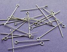 25 mm de longitud 24 Calibre 0,60 mm de espesor Plata Esterlina 925 Ojo Pins 24pcs