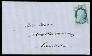 1¢ blue #9 four margins, uncancelled 1856 Cambridge MA local cover, cat $240