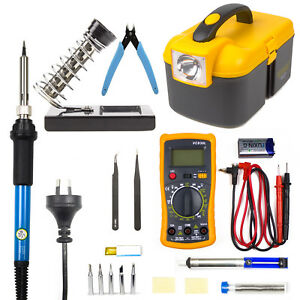 Electric Soldering Iron Kit 60W Adjustable Temp Welding Stand Digital Multimeter