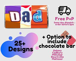 FATHERS DAY CHOCOLATE BAR WRAPPER | Dad Daddy Grandad Chocolate | FREE POST