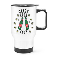 Crazy Beer Lady Stars Travel Mug Cup With Handle Funny Joke Mum Mothers Day