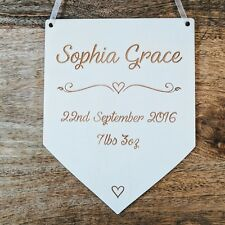 Personalised Wooden Bedroom Sign - Engraved Flag Birth Details - Custom Plaque