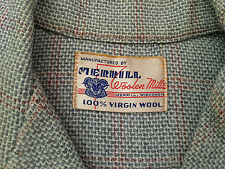 1950s MERRILL WOOLEN MILLS WISCONSIN USA 100% WOOL LOOP COLLAR SHIRT M