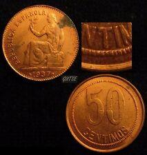 *GUTSE*140-II REPÚBLICA, 50 CÉNTIMOS 1937*-6 *ORLA DE PUNTOS CUADRADOS*, S/C-