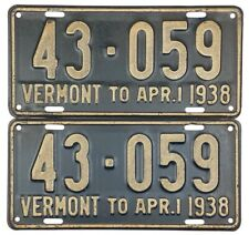 1937 1938 Vermont License Plate PAIR #43-059 NICE PLATES No Reserve