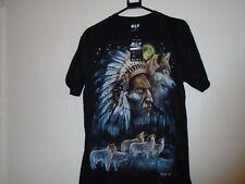 Il CAPO INDIANO LUPO T Shirt Nero in entrambi i lati foto taglia M unisex Wild