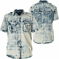 AFFLICTION Mens Button Down Shirt IDLE Embroidered BLUE American Customs $78 NWT