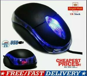 WIRED USB OPTICAL LED SMALL WHEEL MOUSE - FOR PC / LAPTOP / COMPUTER  - BLACK