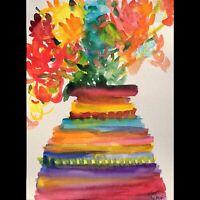 Matt Scalf Abstract Flowers ORIGINAL PAINTING Watercolor 9x12 Modern Floral Vase