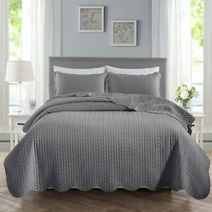 Grey Quilted Bedspread 3 PCs Reversible Embossed Bed Throw Set Double King Sizes