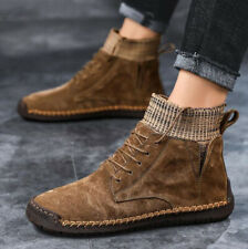 Fashion Men Chelsea Boots Pigskin Leather Breathable Ankle Shoes Lace Up Bootie