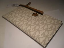 NWT MICHAEL KORS PVC Fulton Large Zip Clutch Wristlet MK Wallet Vanilla Acorn