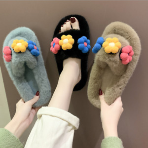 Women Lovely Open Toe Faux Fur Flowers Slippers Mules Indoor Sliders House Shoes