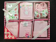 BNIB Baby Girl's Sz 0 to 6 Months Designer BQT Pink Bunny 6 Piece Layette Set
