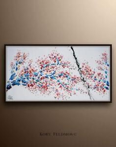 "Sakura Tree, 67"" - beautiful & colorful blossom painting, original art"