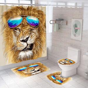 Lion Bathroom Rug Set Shower Curtain Thick Non Slip Toilet Lid Cover Bath Mat