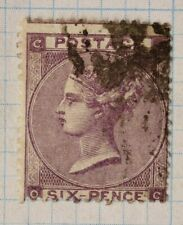 GB sc#39 used stamp QV sg#84 cv$92.50 6 six pence purple color variety