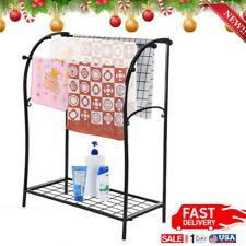 Standing Bath Towel Rack Chrome Bathroom Holder Stand Storage Floor Metal Small