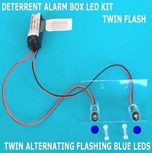 Deterrent Alarm Siren LEDs inc Fixing Kit+(10 Yr Batt) Twin Flashing Blue LED's