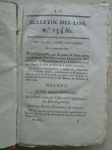 CODE NAPOLEON. Décret original le 5 septembre 1807 dans le Bulletin des lois.